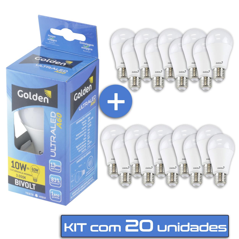 Lampada LED 10W Residencial - Bulbo E27 Bivolt Golden® - 20 unidades - Branco Quente / Amarela ( 3000K )