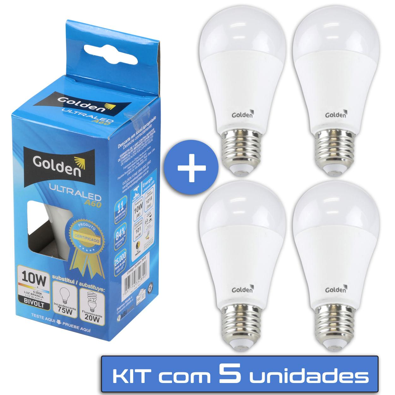 Lampada LED 10W Residencial - Bulbo E27 Golden® - Kit 5 unidades Lampada LED 10W Residencial - Bulbo E27 Bivolt Golden® - 5 unidades - Branco Frio ( 6000K )