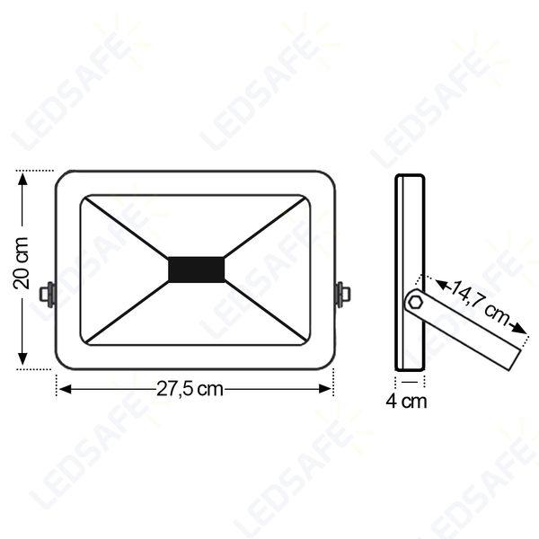 Ledsafe®---Refletor-LED-50W-Design-Preto-|-Branco-Quente--3000K--4