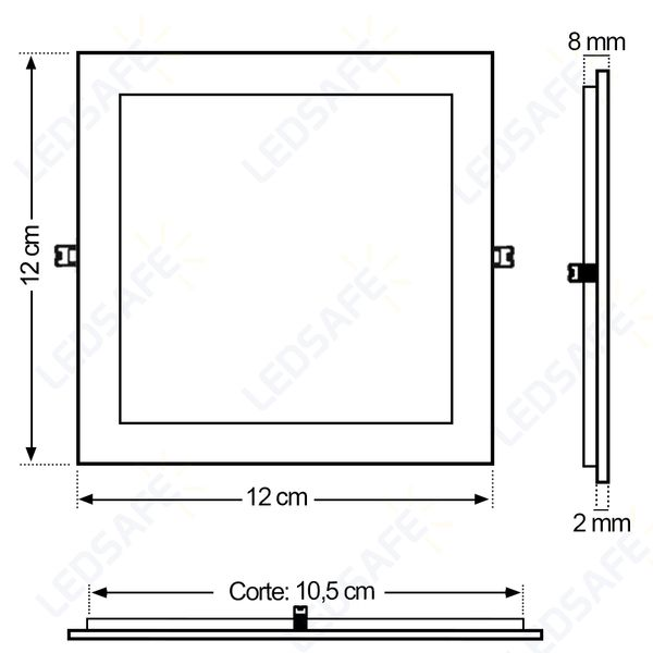 Luminaria-Plafon-LED-de-Embutir-6W-Quadrada-Branco-Quente-Ultra-LED-|-Cristallux®-5