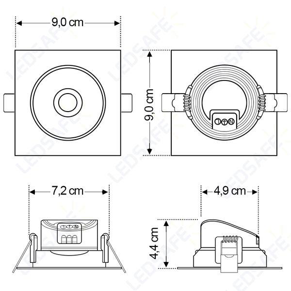 Spot-LED-Embutir-7W-Quadrado-|-Ledsafe®---Luz-Branca---6000K-007