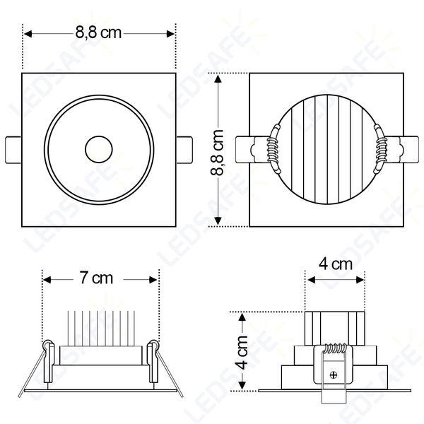 Spot-LED-de-Embutir-Dicroica-5W-Quadrada-Branco-Quente-Cristallux®-5