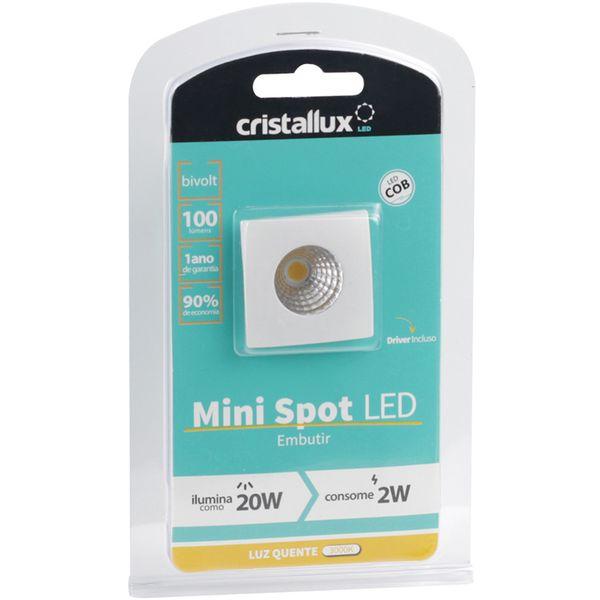 Spot-LED-de-Embutir-Mini-Dicroica-2W-Quadrada-Branco-Quente-Lente-Clara-Cristallux®-2