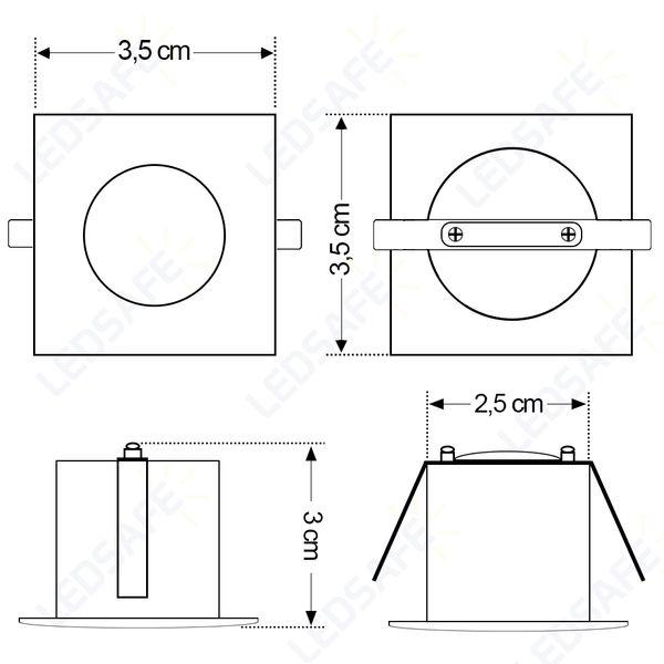 Spot-LED-de-Embutir-Mini-Dicroica-2W-Quadrada-Branco-Quente-Lente-Clara-Cristallux®-4