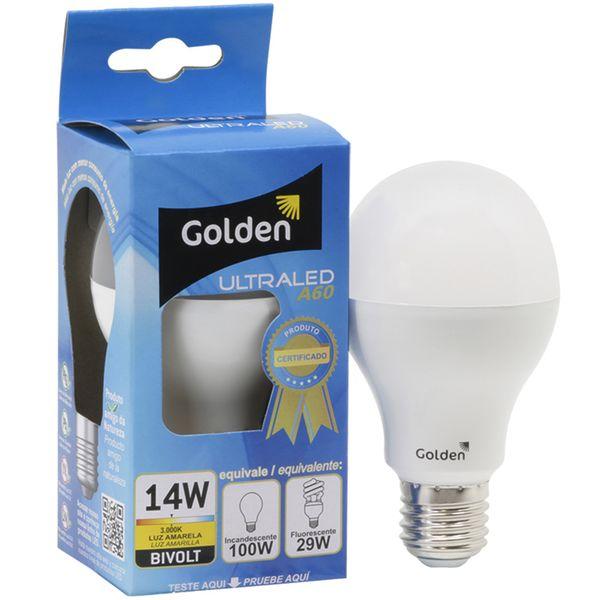 Lampada-LED-14W-Residencial---Bulbo-E27-Bivolt-Golden®---Branco-Quente-Amarela-3000K-01