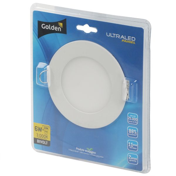 Luminaria-Plafon-LED-de-Embutir-6W-Redonda-Branco-Quente-13cm-Ultra-LED-|-Golden®-2