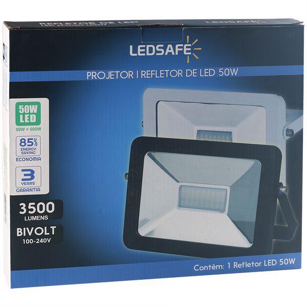 Ledsafe®---Refletor-LED-50W-Design-Preto-|-Branco-Quente--3000K--3