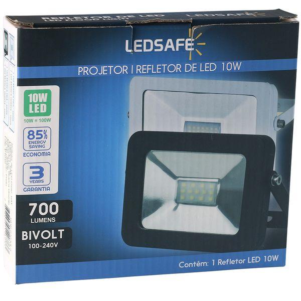 Ledsafe®---Refletor-LED-10W-Design-Preto-|-Branco-Quente--3000K--3