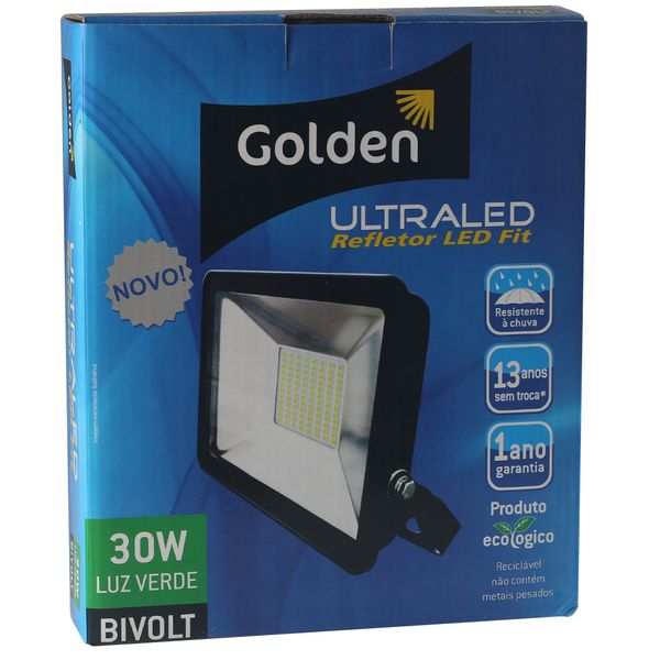 Refletor-de-LED-Slim-30W-Golden-Bivolt-Ultra-LED-SMD---Verde-3