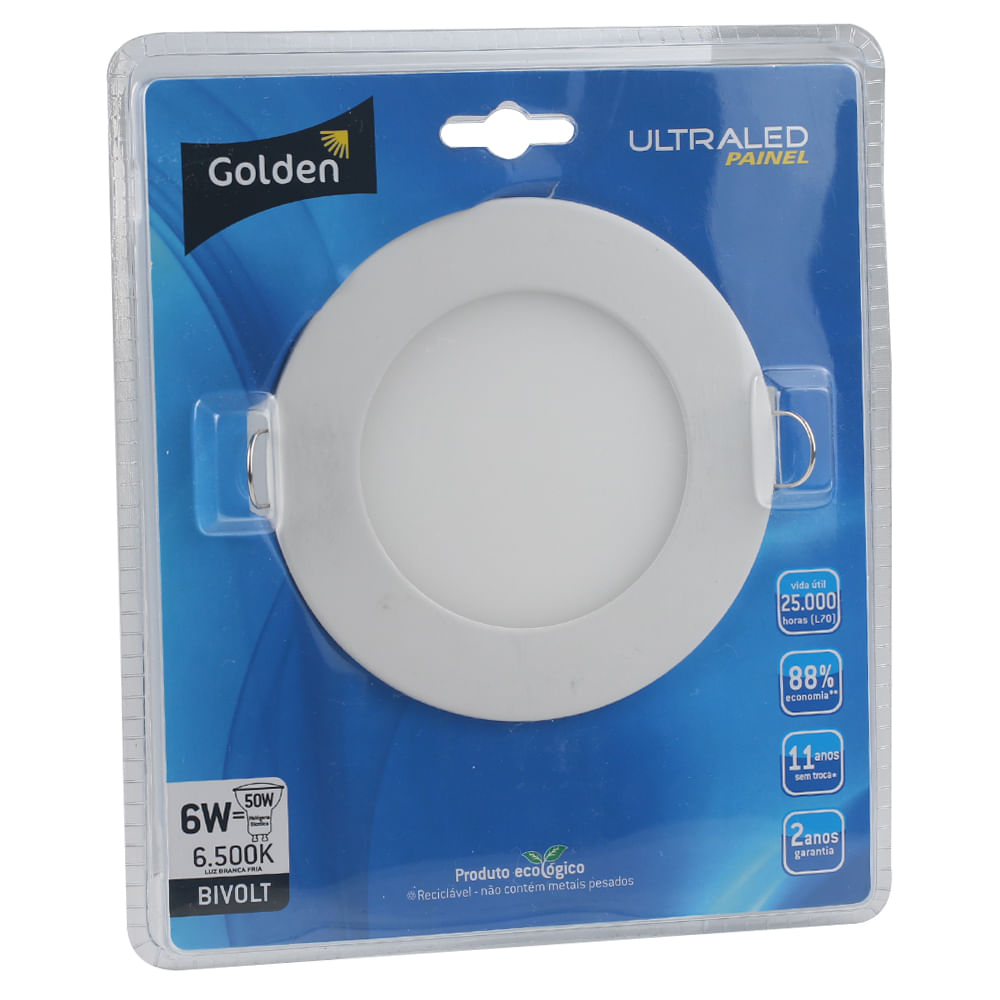 Luminaria-Plafon-LED-de-Embutir-6W-Redonda-Branco-Frio-13cm-Ultra-LED-|-Golden®-1